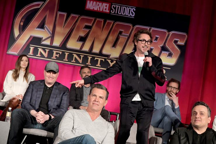 Actor Elizabeth Olsen, President of Marvel Studios and Producer Kevin Feige, actors Mark Ruffalo, Josh Brolin, Robert Downey Jr., and Tom Hiddleston, and Director Joe Russo attend the Global Press Conference at the Avengers: Infinity War Press Junket in Los Angeles, CA April 22nd, 2018