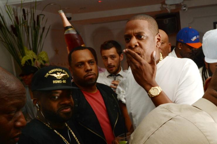 Producer Jermaine Dupri, producer No I.D., and rapper Jay-Z attend Moet Rose Lounge Presents Nas' Life Is Good at Bagatelle on July 16, 2012 in New York City.