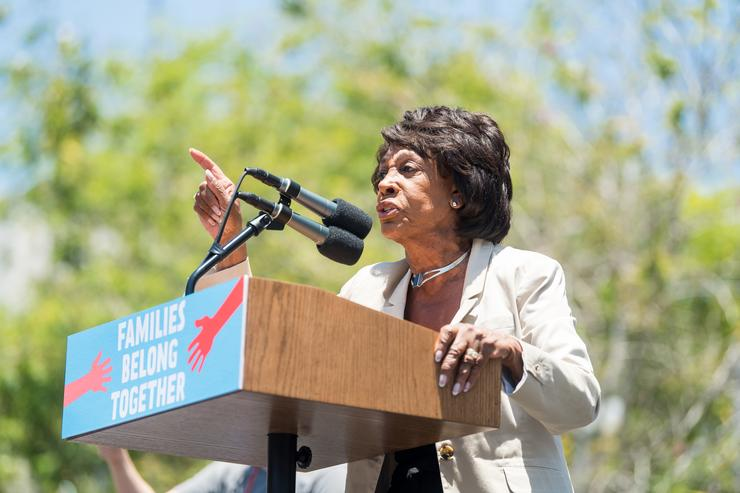 Maxine Waters speaks onstage at 'Families Belong Together - Freedom for Immigrants March Los Angeles' at Los Angeles City Hall on June 30, 2018 in Los Angeles, California.