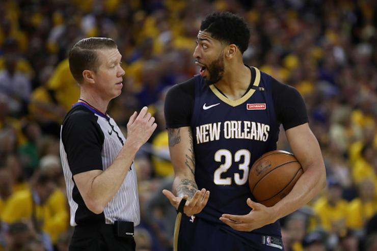 Anthony Davis #23 of the New Orleans Pelicans complains about a call to Ed Malloy during Game Five of the Western Conference Semifinals of the 2018 NBA Playoffs at ORACLE Arena on May 8, 2018 in Oakland, California