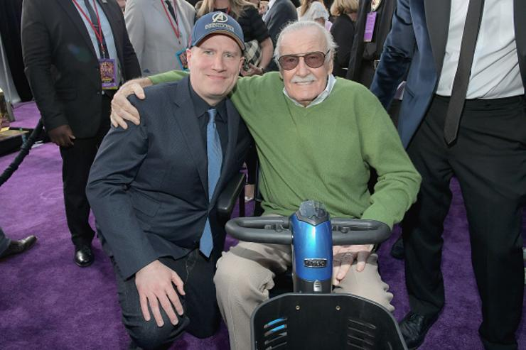 President of Marvel Studios and Producer Kevin Feige (L) and producer-writer Stan Lee attend the Los Angeles Global Premiere for Marvel Studios' Avengers: Infinity War on April 23, 2018 in Hollywood, California.