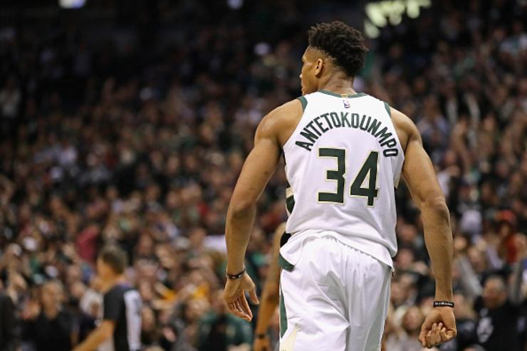 Giannis Antetokounmpo #34 of the Milwaukee Bucks turns up the court against the Boston Celtics during Game Four of Round One of the 2018 NBA Playoffs at the Bradley Center on April 22, 2018 in Milwaukee, Wisconsin.