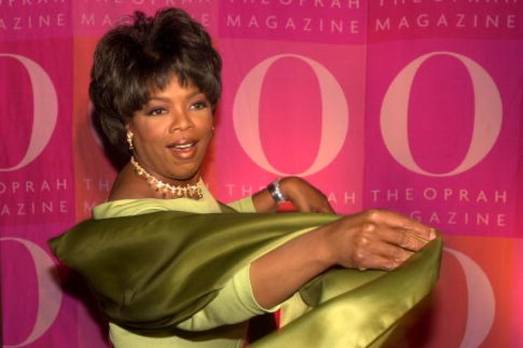 Oprah Winfrey poses April 17, 2001 at a 1st anniversary party for O Magazine in New York.