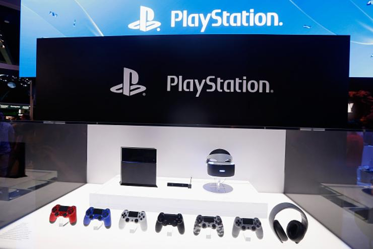 : Detail of the Sony PlayStation 4 and peripherals, including the virtual reality 'Project Morpheus', during the Annual Gaming Industry Conference E3 at the Los Angeles Convention Center on June 16, 2015 in Los Angeles, California.