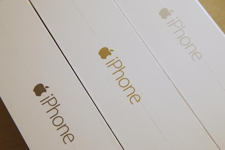 iPhone 6 Plus boxes in Silver, gold and space gray are shown together at a Verizon store in Orem, Utah on September 18, 2014 in Orem, Utah. Apples new iPhone 6's go on sale tomorrow September 20, 2014.