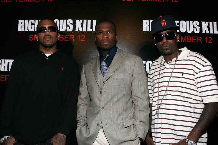 Lloyd Banks,Curtis '50 cent' Jackson,and Rapper Tony Yayo attend The Righteous Kill premiere at the The Ziegfeld on September 10, 2008 in New York City