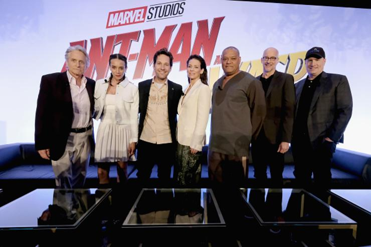 Michael Douglas, Hannah John-Kamen, Paul Rudd, Evangeline Lilly, Laurence Fishburne, Peyton Reed and Marvel Studios President Kevin Feige attend Marvel Studios' 'Ant-Man And The Wasp' Global Junket Press Conference on June 24, 2018 in Los Angeles, United States.