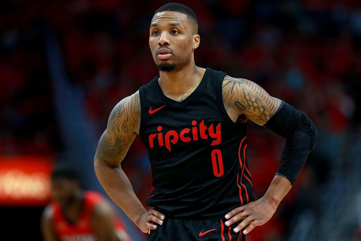 Damian Lillard #0 of the Portland Trail Blaers stands on the court as his team trails the New Orleans Pelicans during Game 3 of the Western Conference playoffs against the Portland Trail Blazers at the Smoothie King Center on April 19, 2018 in New Orleans, Louisiana