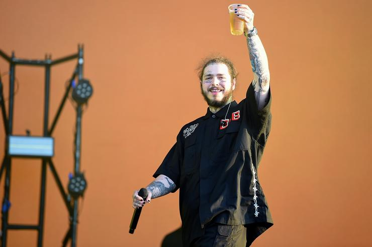 Post Malone performs on the Main Stage on Day 1 of Wireless Festival 2018 at Finsbury Park on July 6, 2018 in London, England