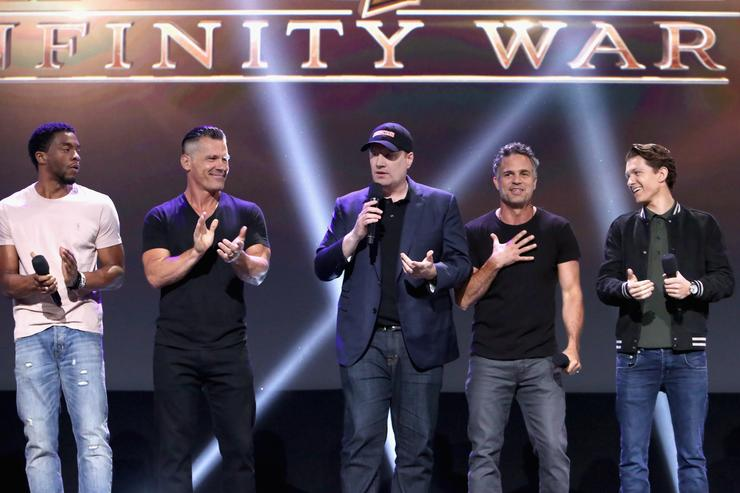 Actors Chadwick Boseman and Josh Brolin, producer Kevin Feige, actors Mark Ruffalo and Tom Holland of AVENGERS: INFINITY WAR took part today in the Walt Disney Studios live action presentation at Disney's D23 EXPO 2017 in Anaheim, Calif. AVENGERS: INFINITY WAR will be released in U.S. theaters on May 4, 2018.