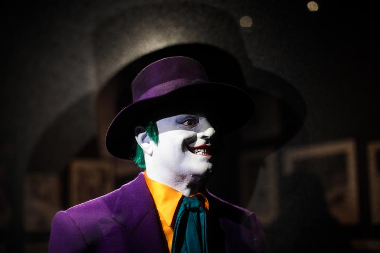 A Joker costume from the 1989 Batman film worn by Jack Nicholson and designed by Rob Ringwood is on display at the DC Comics Exhibition: Dawn Of Super Heroes at the O2 Arena on February 22, 2018 in London, England.