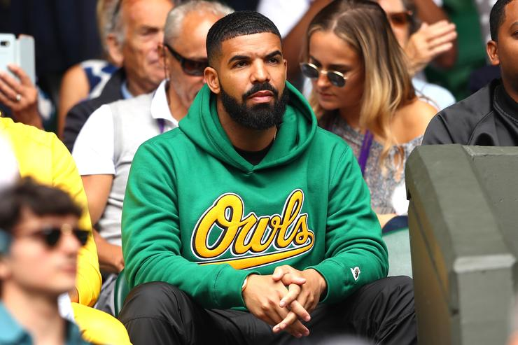 Drake attends day eight of the Wimbledon Lawn Tennis Championships at All England Lawn Tennis and Croquet Club on July 10, 2018 in London, England