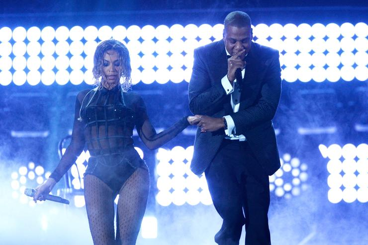 Beyonce and rapper Jay Z perform onstage during the 56th GRAMMY Awards at Staples Center on January 26, 2014 in Los Angeles, California