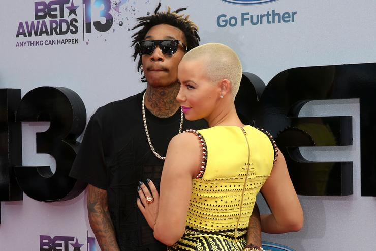 Wiz Khalifa (L) and model Amber Rose attend the 2013 BET Awards at Nokia Theatre L.A. Live on June 30, 2013 in Los Angeles, California