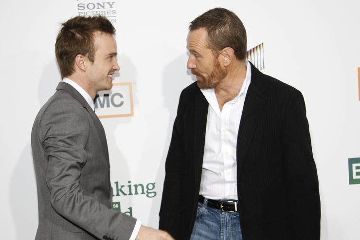 Aaron Paul (L) and actor Bryan Cranston arrive at the premiere of AMC's 'Breaking Bad' on the Cary Grant Theater January 15, 2007 in Culver City, California