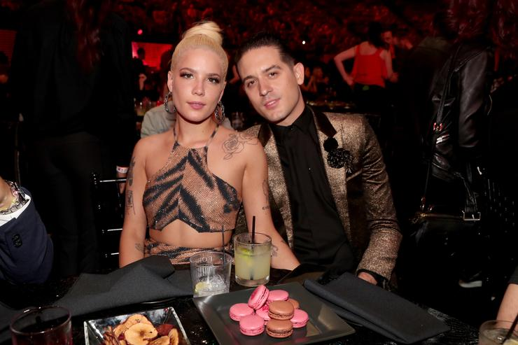 G-Eazy (L) and Halsey attend the 2018 iHeartRadio Music Awards which broadcasted live on TBS, TNT, and truTV at The Forum on March 11, 2018 in Inglewood, California.