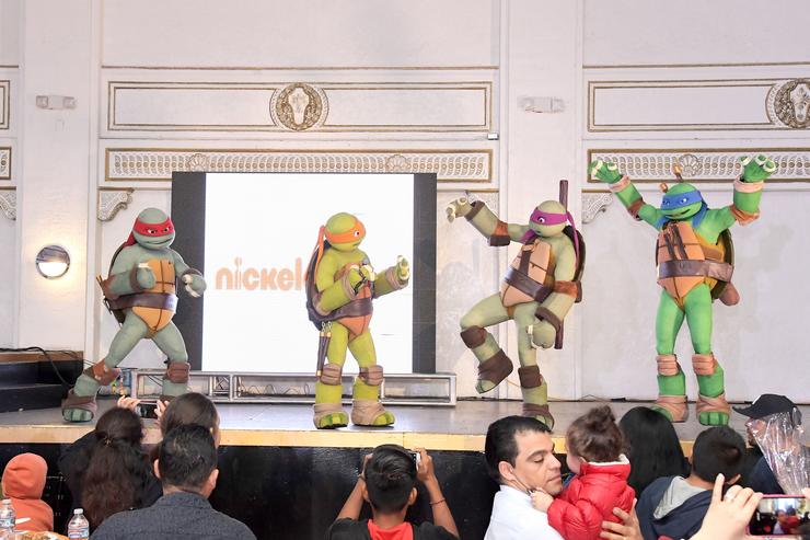 A view of the Ninja Turtles performance during 'the Salvation Army's Feast of Sharing' presented by Nickelodeon at Casa Vertigo on November 22, 2016 in Los Angeles, California.