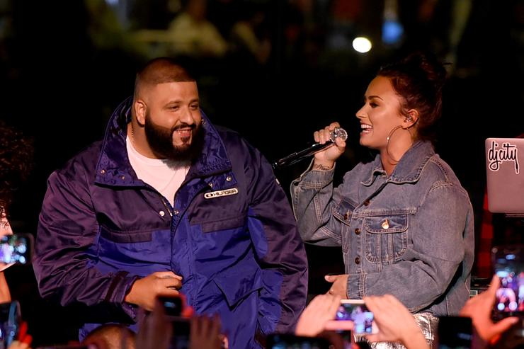 Singer Demi Lovato (R) and DJ Khaled appear at the Fan Luv event at The Grove on November 2, 2017 in Los Angeles, California.