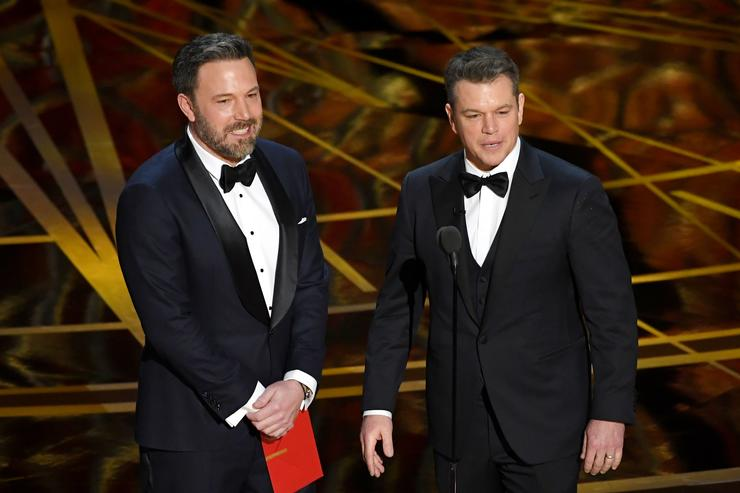 Actor/director Ben Affleck (L) and actor/producer Matt Damon speak onstage during the 89th Annual Academy Awards at Hollywood & Highland Center on February 26, 2017 in Hollywood, California.