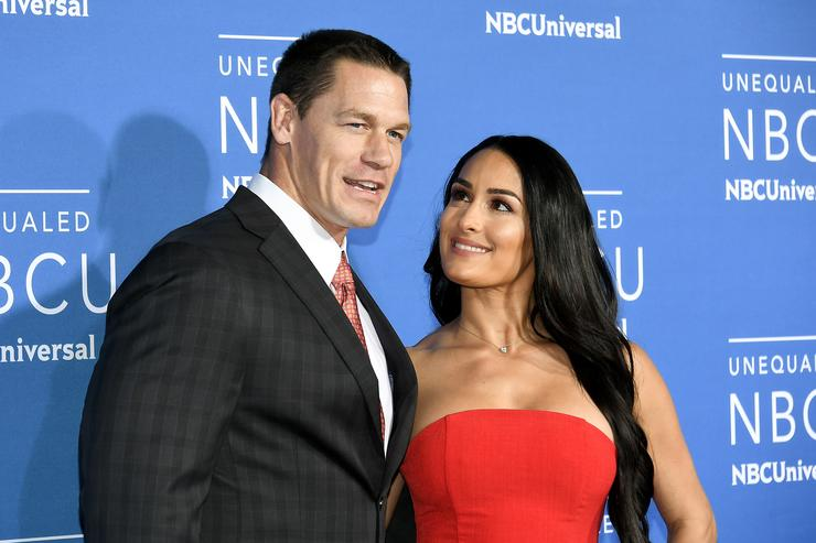 John Cena (L) and Nikki Bella attend the 2017 NBCUniversal Upfront at Radio City Music Hall on May 15, 2017 in New York City.