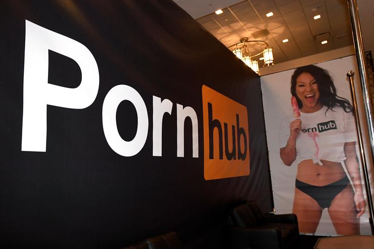 An image of adult film actress Asa Akira is dispayed at the Pornhub booth at the 2018 AVN Adult Entertainment Expo at the Hard Rock Hotel & Casino on January 24, 2018 in Las Vegas, Nevada.