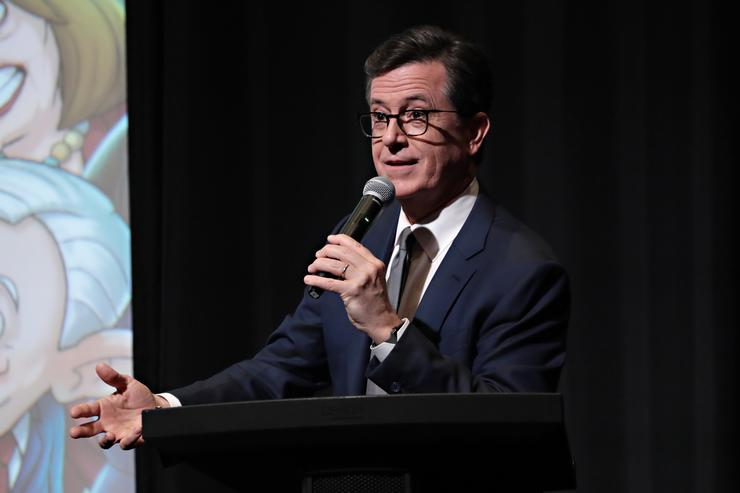 Executive Producer Stephen Colbert speaks as Stephen Colbert, Chris Licht and R.J. Fried host an exclusive screening of OUR CARTOON PRESIDENT on February 7, 2018 in New York City.