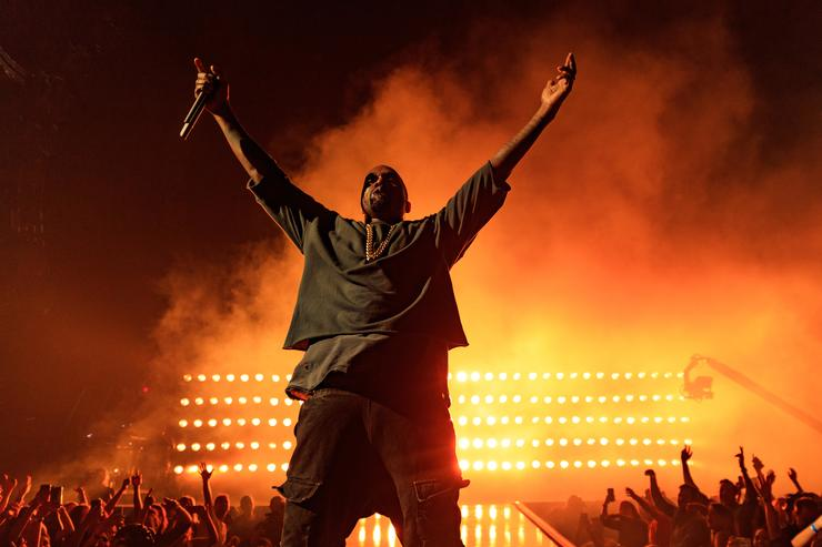Recording artist Kanye West performs onstage at the 2015 iHeartRadio Music Festival at MGM Grand Garden Arena