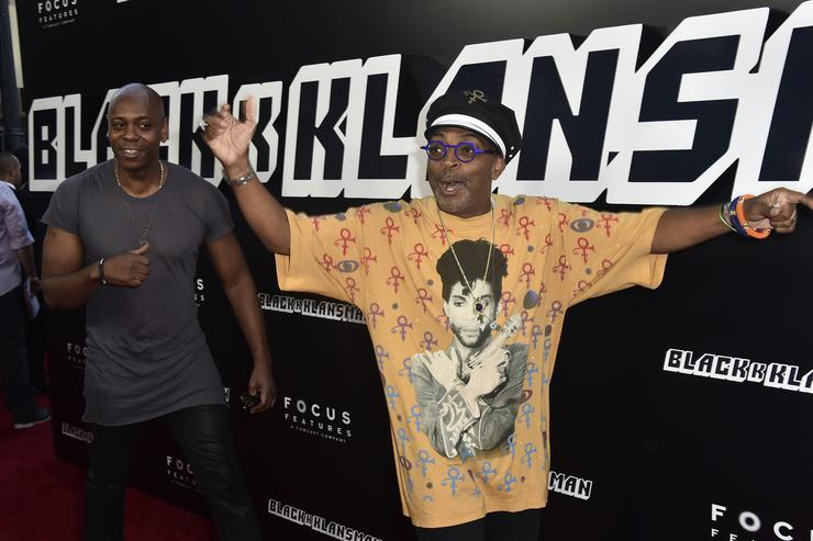 Dave Chappelle and Spike Lee attend the Premiere Of Focus Features' 'BlacKkKlansman' at Samuel Goldwyn Theater on August 8, 2018 in Beverly Hills, California.