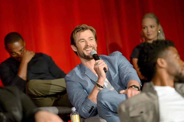 Actors Chris Hemsworth (L) and Pom Klementieff at the Avengers: Infinity War Press Junket in Los Angeles, CA April 22nd, 2018