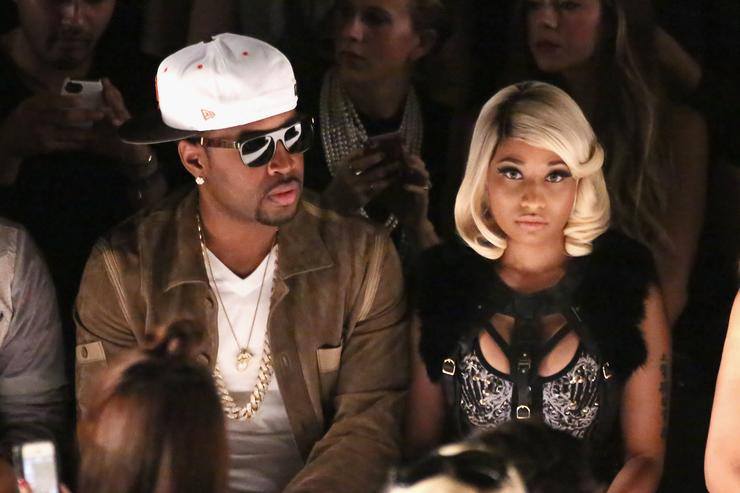 Safaree Samuels (L) and Nicki Minaj attend the Herve Leger By Max Azria fashion show during Mercedes-Benz Fashion Week Spring 2014 at The Theatre at Lincoln Center on September 7, 2013 in New York City.