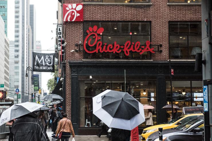 The exterior of Chick-Fil-A, a day before its opening, on 37th Street and 6th Avenue, on October 2, 2015 in New York City.. The fast food chicken restaurant is set to open its first store in Manhattan.