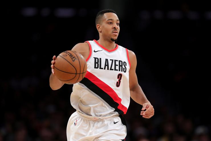 CJ McCollum #3 of the Portland Trail Blazers dribbles upcourt during the second half of a game against the Los Angeles Lakers at Staples Center on December 23, 2017 in Los Angeles, California.