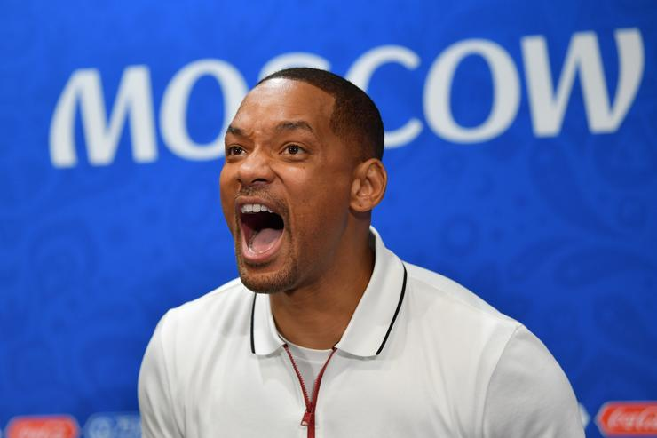 Will Smith reacts at a closing ceremony press conference during the 2018 FIFA World Cup at Luzhniki Stadium on July 13, 2018 in Moscow, Russia.