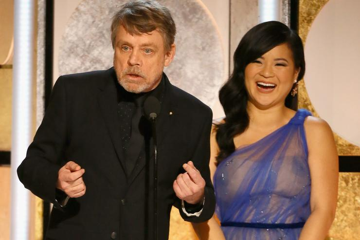 Mark Hamill and Kelly Marie Tran speak onstage during AARP's 17th Annual Movies For Grownups Awards at the Beverly Wilshire Four Seasons Hotel on February 5, 2018 in Beverly Hills, California.