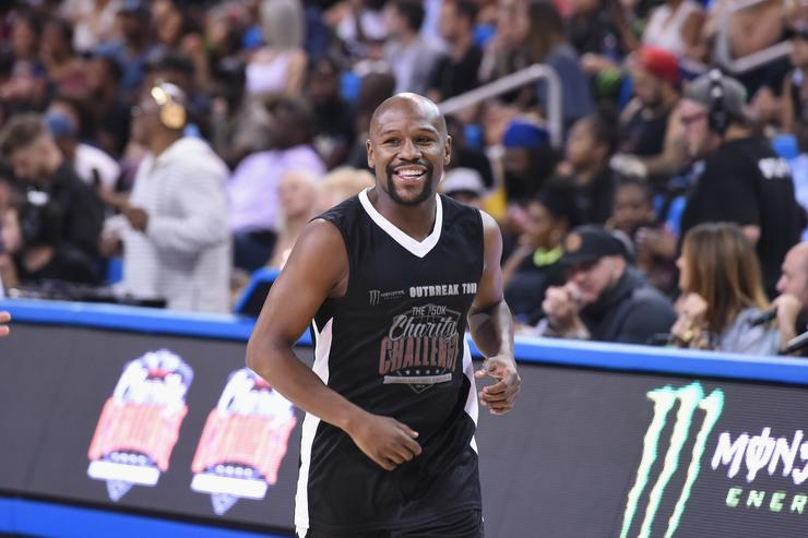 Floyd Mayweather Jr. attends 50K Charity Challenge Celebrity Basketball Game at UCLA's Pauley Pavilion on July 17, 2018 in Westwood, California.