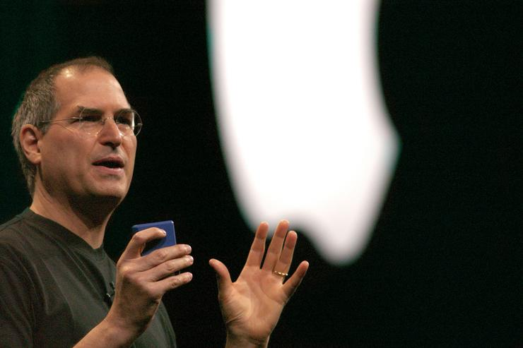 Steve Jobs, CEO of Apple, delivers the keynote address to open MacWorld in New York City at the Jacob Javits Convention Center on July 17, 2002.