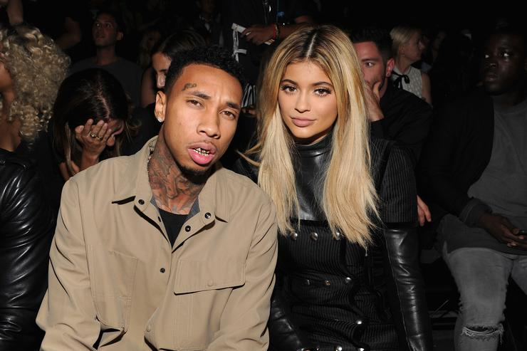 Tyga (L) and Kylie Jenner attend the Alexander Wang Spring 2016 fashion show during New York Fashion Week at Pier 94 on September 12, 2015 in New York City