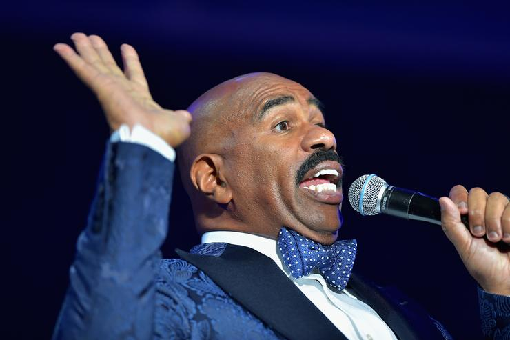 Steve Harvey speaks at the 2015 Ford Neighborhood Awards Hosted By Steve Harvey at Phillips Arena on August 8, 2015 in Atlanta, Georgia