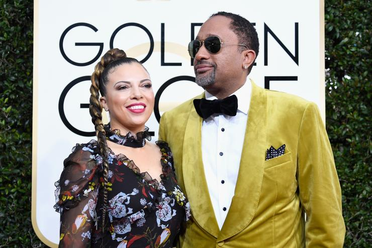 Producer Kenya Barris (R) and Dr. Rainbow Edwards-Barris attend the 74th Annual Golden Globe Awards