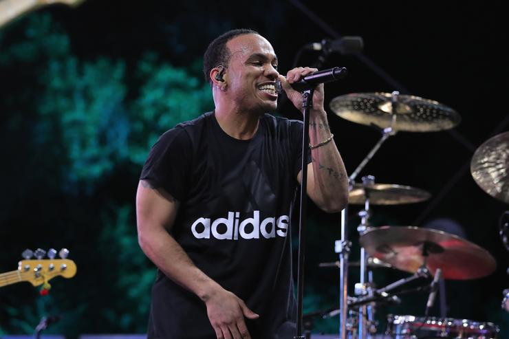 Anderson .Paak performs onstage at adidas x Parley 'Run For The Oceans' event, harnessing the power of sport and continued fight against the threat of marine plastic pollution, at Temescal Park in Los Angeles, CA at Temescal Gateway Park on June 8, 2018 in Pacific Palisades, California.