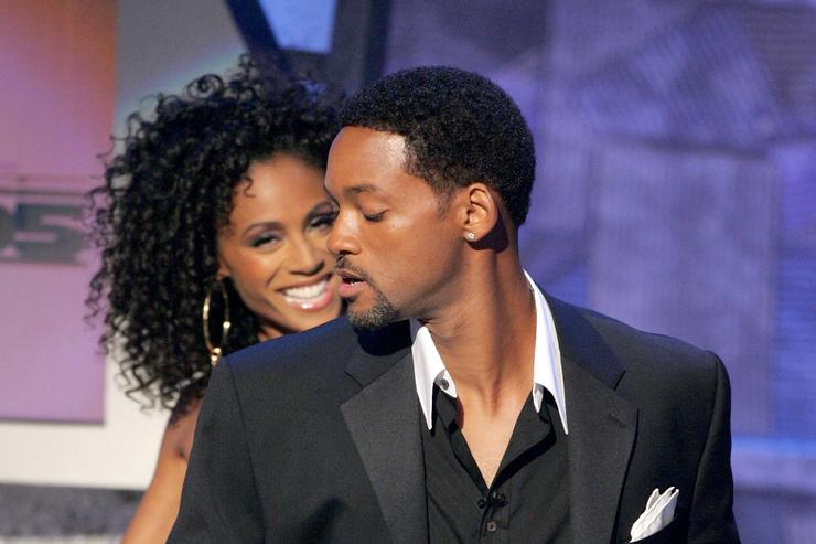 Hosts Will and Jada Pinkett Smith speak onstage at the BET Awards 05 at the Kodak Theatre on June 28, 2005 in Hollywood, California.