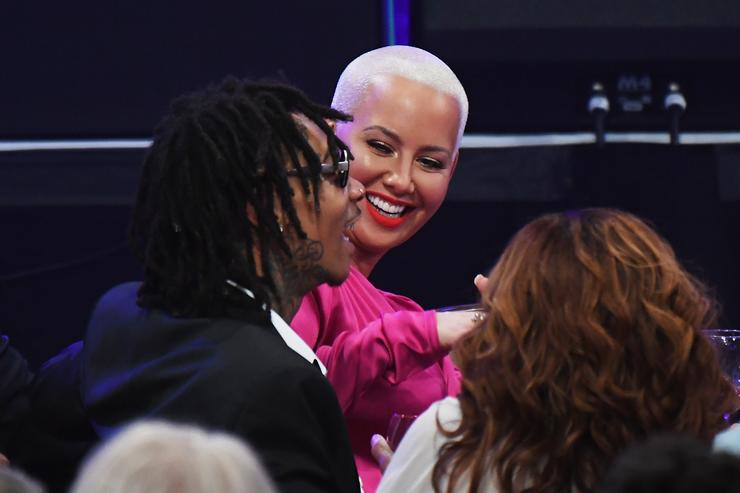 Wiz Khalifa (L) and Amber Rose attend Pre-GRAMMY Gala and Salute to Industry Icons Honoring Debra Lee at The Beverly Hilton on February 11, 2017 in Los Angeles, California