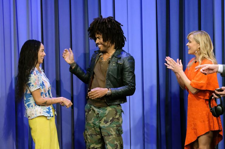 Actress Zoe Kravitz, musician Lenny Kravitz, and actress Reese Witherspoon visit 'The Tonight Show Starring Jimmy Fallon' at Rockefeller Center on September 17, 2018 in New York City.