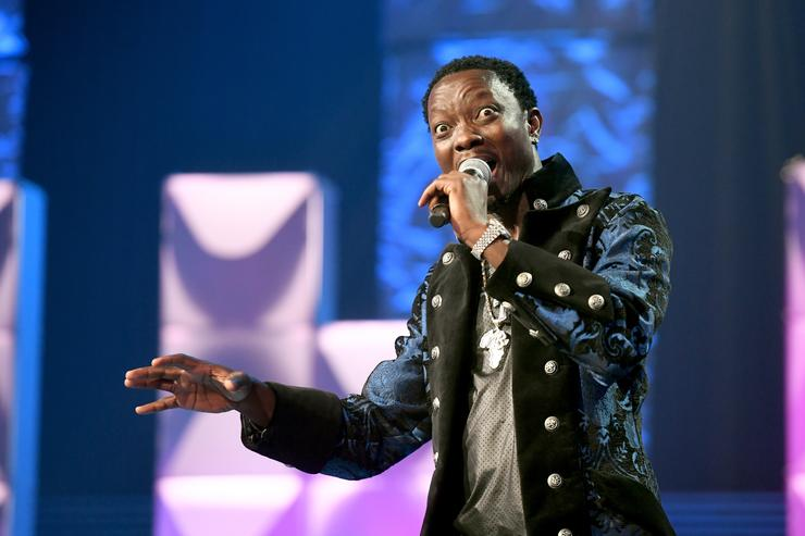 Michael Blackson speaks onstage during BET's Social Awards 2018 at Tyler Perry Studio on February 11, 2018 in Atlanta, Georgia