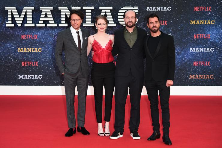 Cary Fukunaga, Emma Stone, Patrick Somerville and Justin Theroux attend the World premiere of the new Netflix series 'Maniac' at Southbank Centre on September 13, 2018 in London, England.