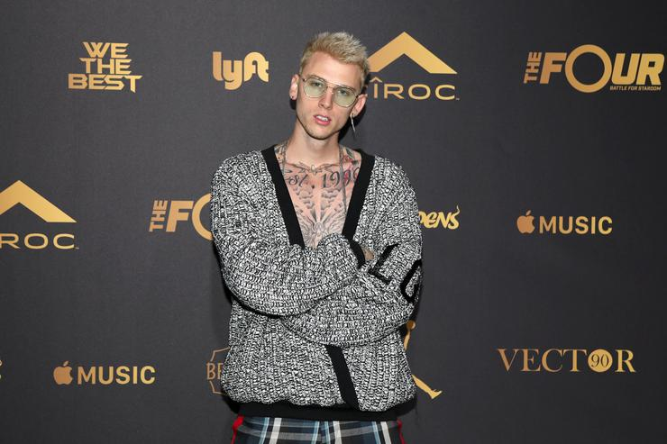 Machine Gun Kelly attends The Four cast Sean Diddy Combs, Fergie, and Meghan Trainor Host DJ Khaled's Birthday Presented by CÎROC and Fox on December 2, 2017 in Beverly Hills, California