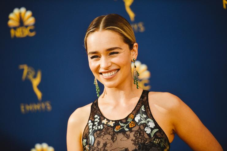 Emilia Clarke arrives at the 70th Emmy Awards on September 17, 2018 in Los Angeles, California.