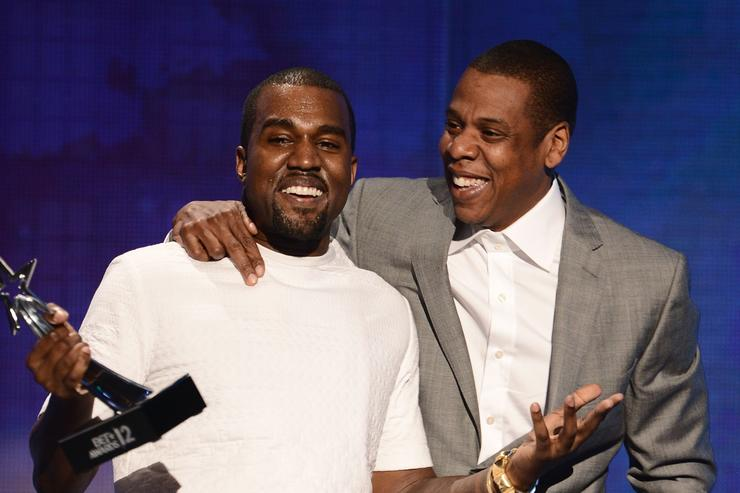Recording artists Kanye West (L) and Jay-Z accept the Best Group Award onstage during the 2012 BET Awards at The Shrine Auditorium on July 1, 2012 in Los Angeles, California.