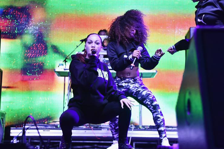 Bhad Bhabie (L) performs onstage during Day 2 of Billboard Hot 100 Festival 2018 at Northwell Health at Jones Beach Theater on August 19, 2018 in Wantagh, New York