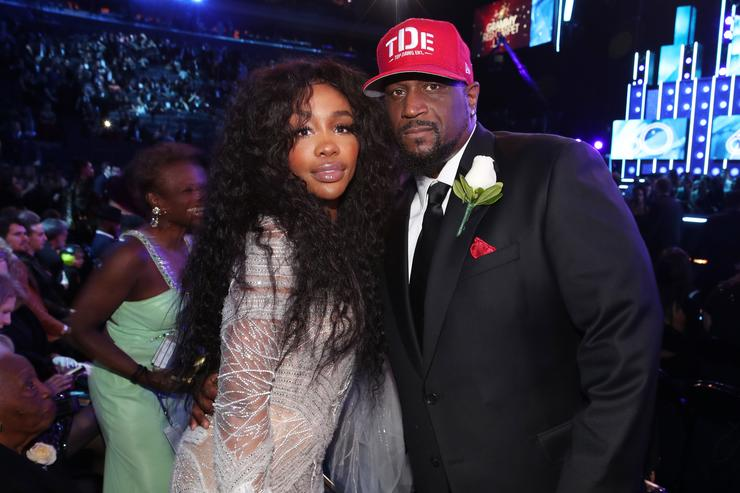 Recording artist SZA and TDE CEO Anthony 'Top Dawg' Tiffith attend the 60th Annual GRAMMY Awards at Madison Square Garden on January 28, 2018 in New York City.